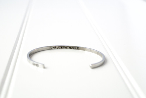 "Glass House Goods ""Unfuckwithable"" Silver Bracelet"
