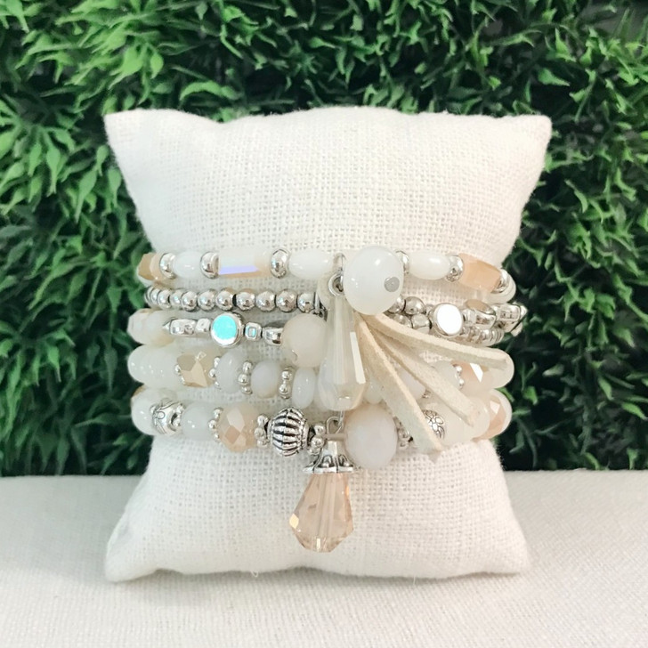 Caracol Beige Set of 5 Stretch Bracelets With Glass & Metal Beads