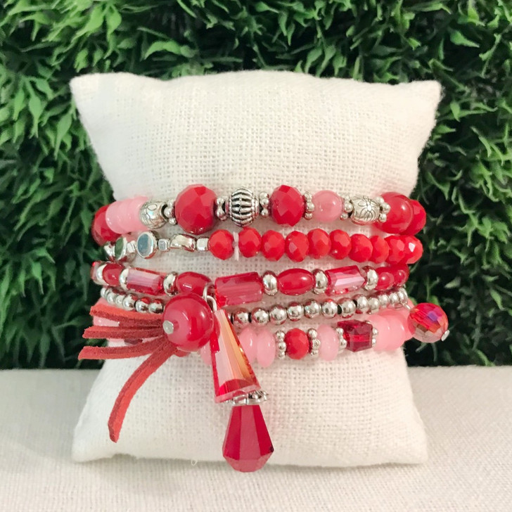 Caracol Red Set of 5 Stretch Bracelets With Glass & Metal Beads