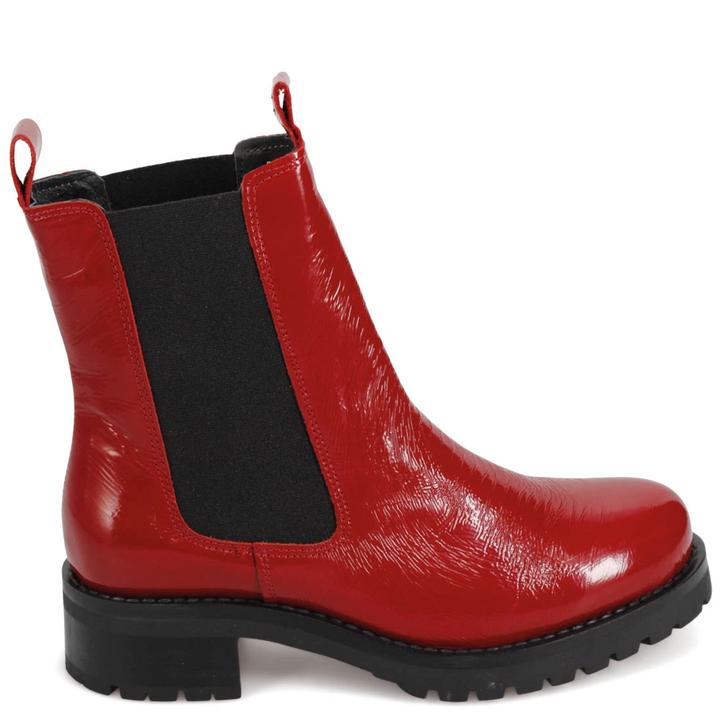 Miz Mooz Phoenix Boot Red Crinkle Patent