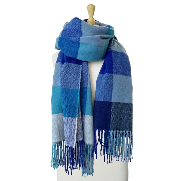 Caracol Mix Blue Large & Soft Plaid Pattern Scarf