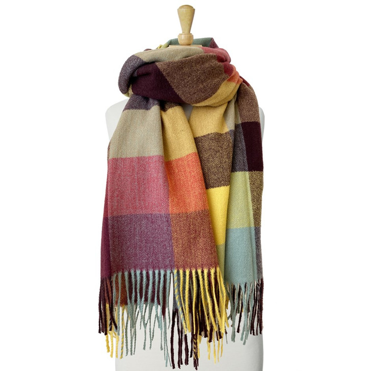 Caracol Multi Colors Large & Soft Plaid Pattern Scarf