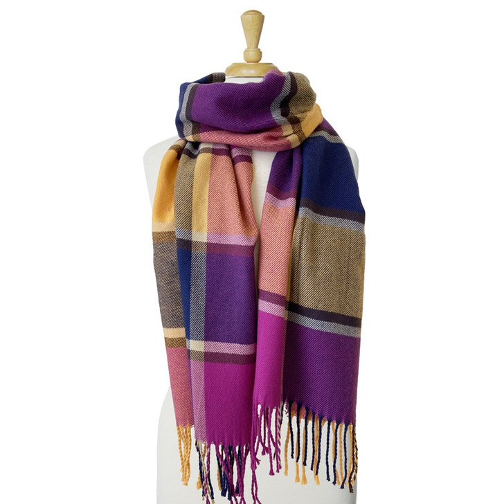 Caracol Pink, Purple & Yellow Soft Plaid Pattern Scarf