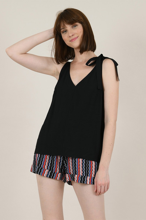 Molly Bracken Black Top With Bow Detail Shoulder