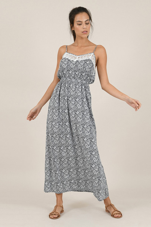 Molly Bracken Navy Long Dress With Lace Detail