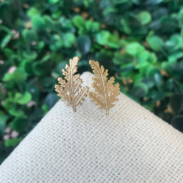 Lost and Faune Gold Leaf Stud Earrings