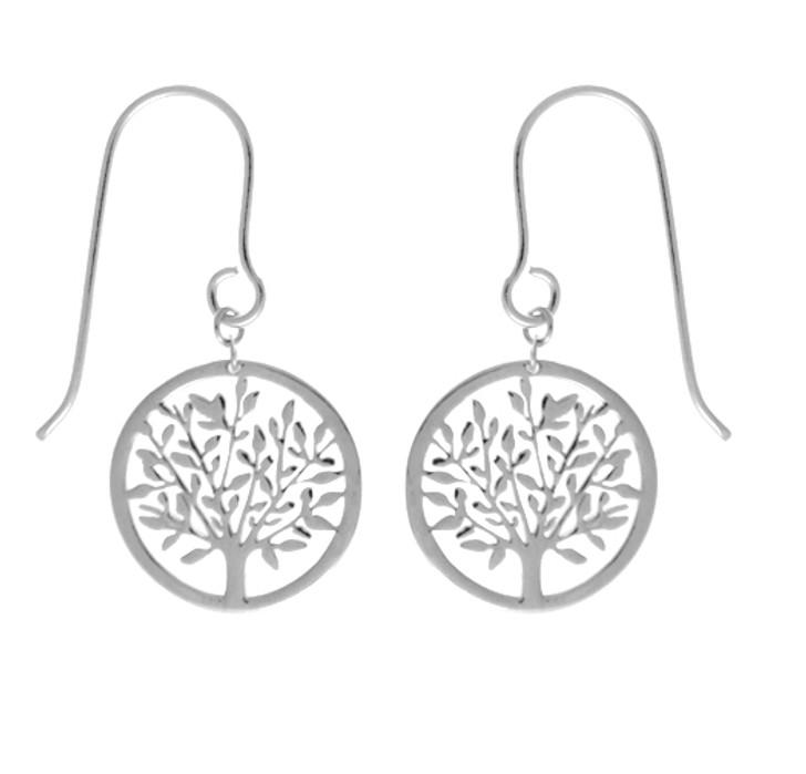 Tashi Silver Polished Tree Earrings