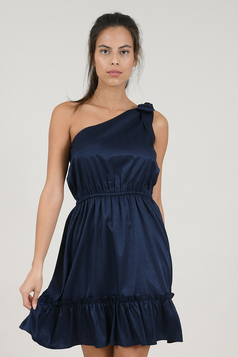 Molly Bracken - Midnight Blue Asymmetric Satin Dress