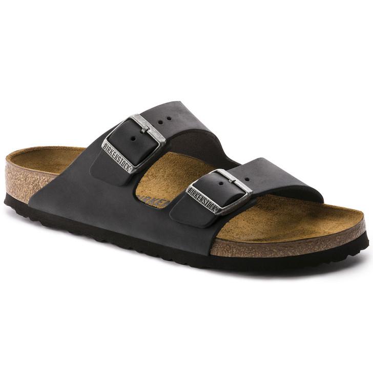 Birkenstock - Arizona Oiled Black Leather Regular Fit