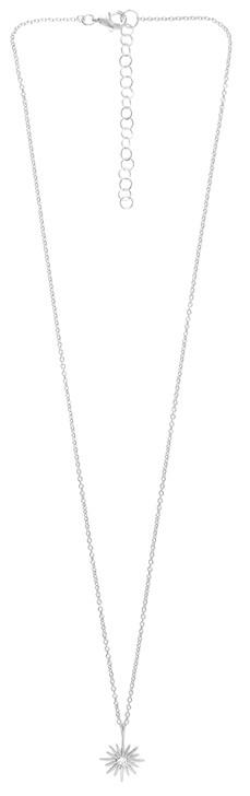 Tashi Silver Sunburst Necklace With Cubic Zirconia