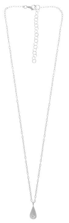 Tashi Brushed Silver Small Drop Necklace