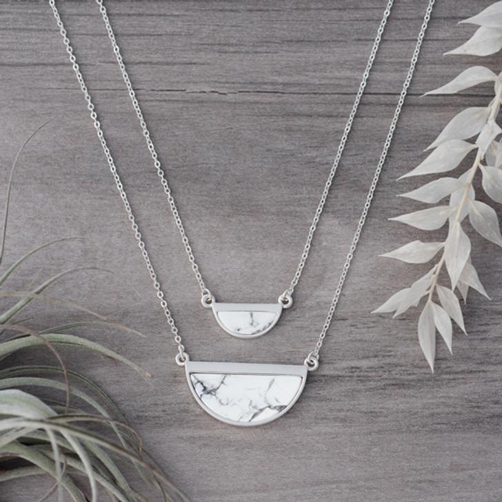 Glee Half Moon Reversible Necklace Silver/Howlite