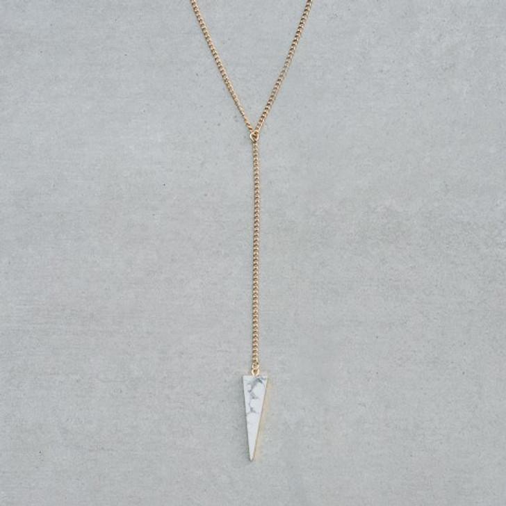 Glee Gold Plated Howlite Vertex Necklace