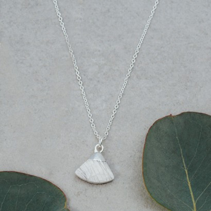 Glee Silver Plated Howlite Fan Necklace