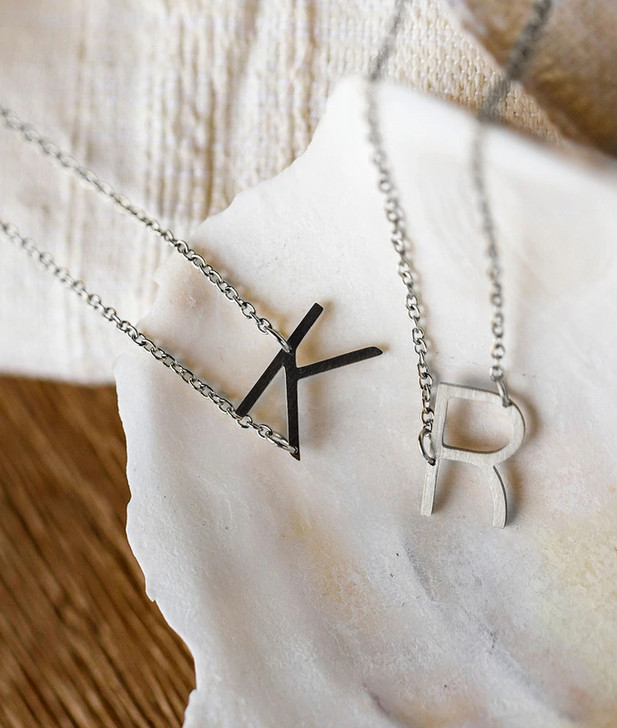 JJ+RR Asymmetrical Initial Brushed Stainless Steel Necklace