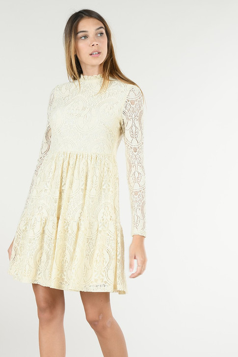 Molly Bracken Lace Dress Lined Off White