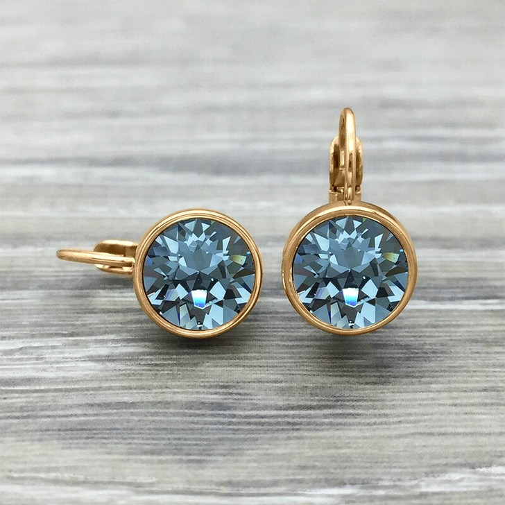 JJ+RR Rose Gold Frenchback Earring Indian Sapphire