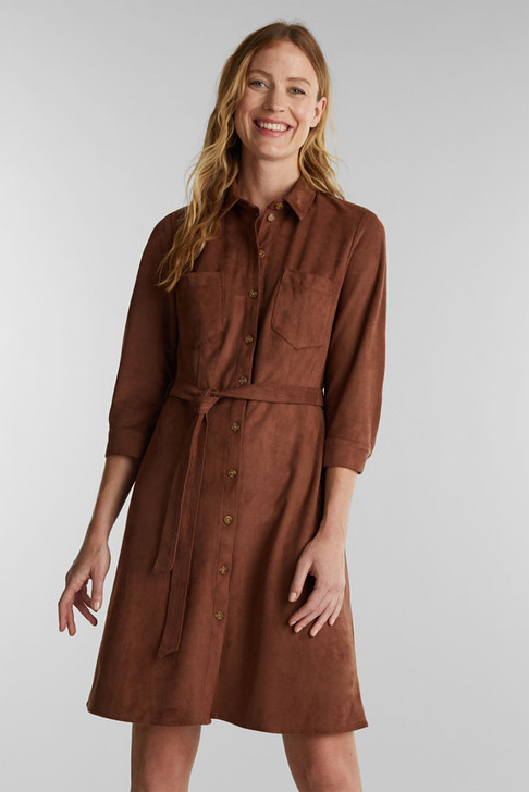 Esprit Ultra Suede 3/4 Sleeve Dress/Jacket Brown