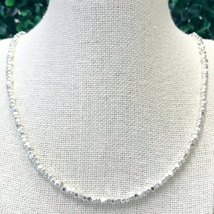 """Talis Silver 18"""" Necklace With Faceted Beads"""