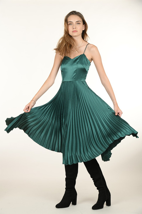 Molly Bracken Pleated Midi Satin Dress Green