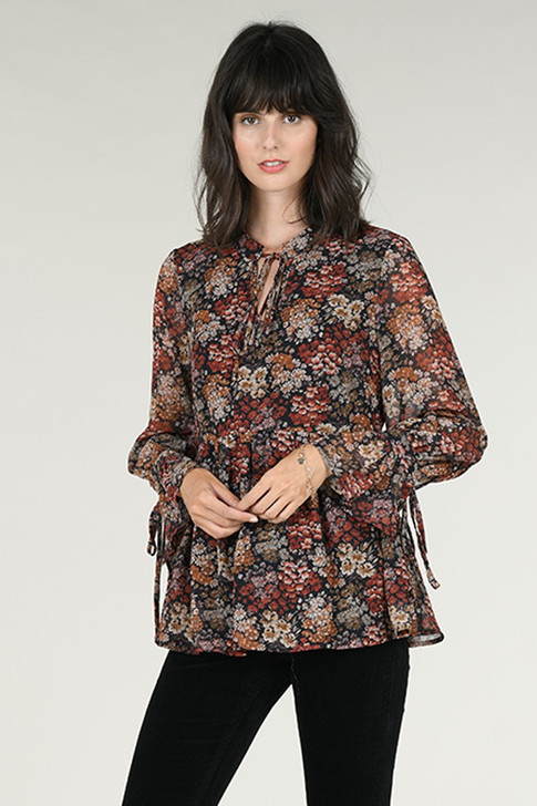 Molly Bracken Patchwork Long Sleeve Blouse Black