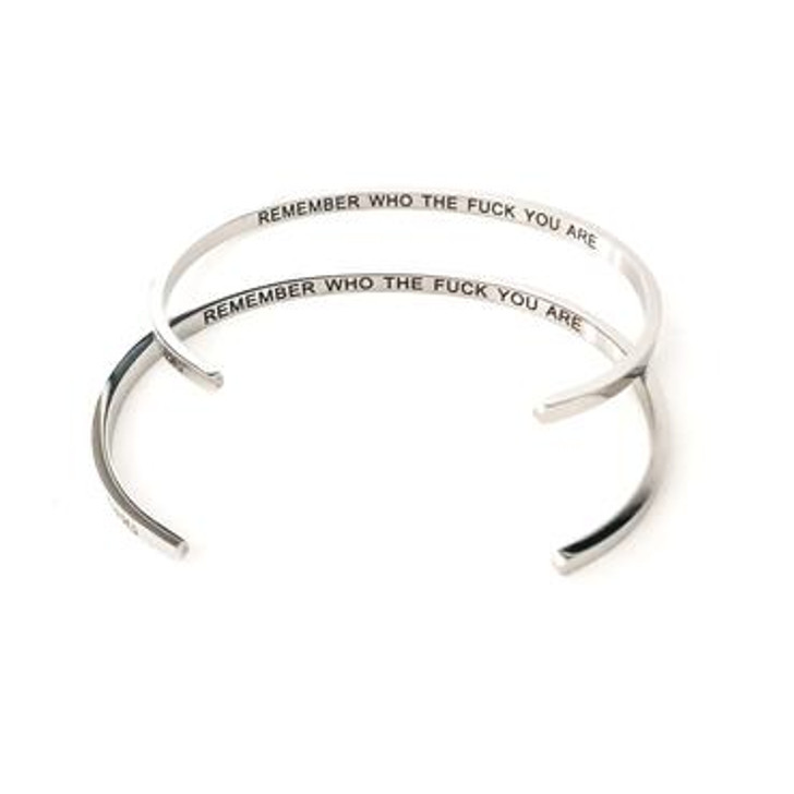 "Glass House Goods ""Remember Who The F*ck You Are"" Silver Bracelet"