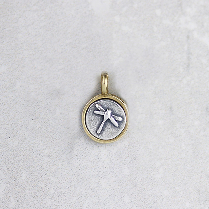 Marmalade Tiny Silver and Bronze Dragonfly Pendant