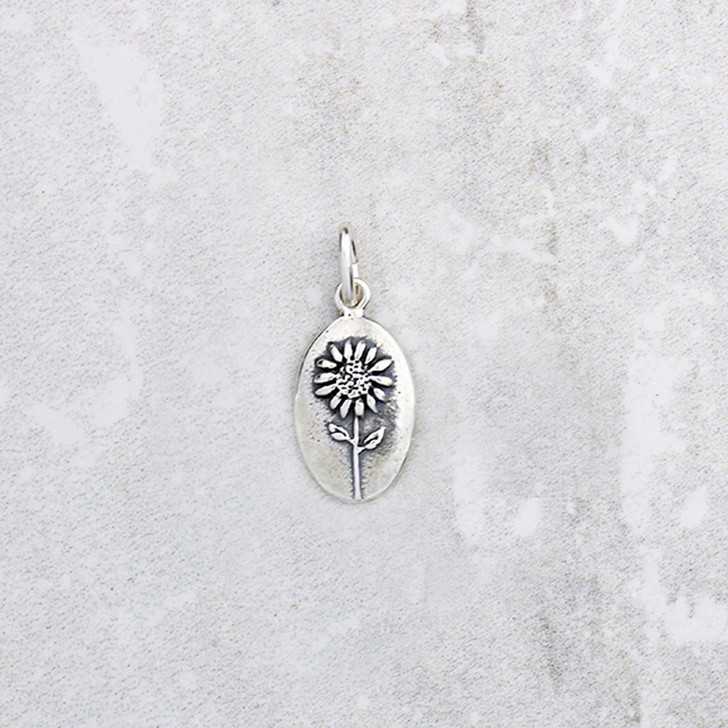 Marmalade Silver Botanical Oval Sunflower Pendant