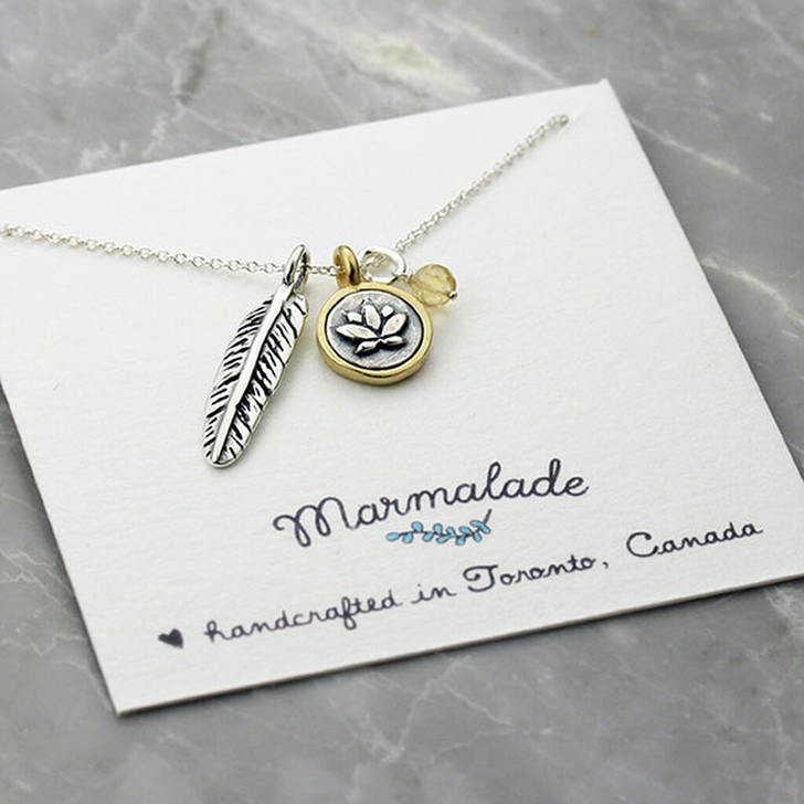Marmalade Silver Lotus Flower & Feather Charm Necklace