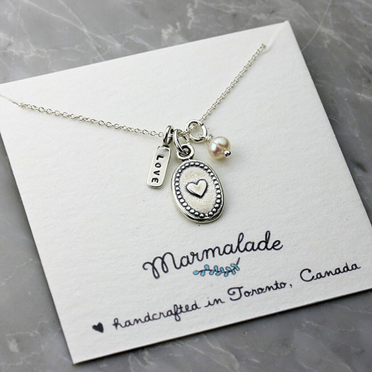 Marmalade Silver Love & Heart Charm Necklace