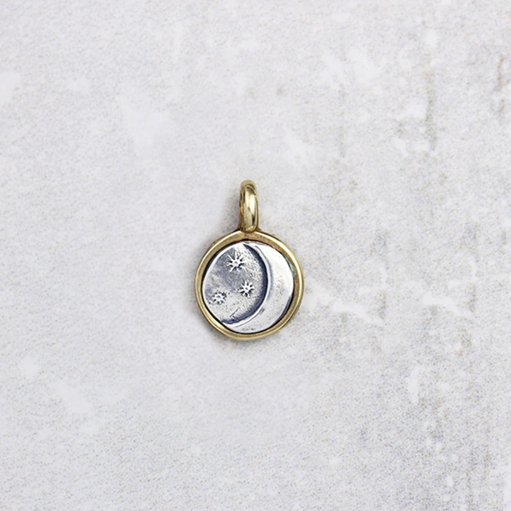 Marmalade Tiny Silver and Bronze Moon & Stars Pendant