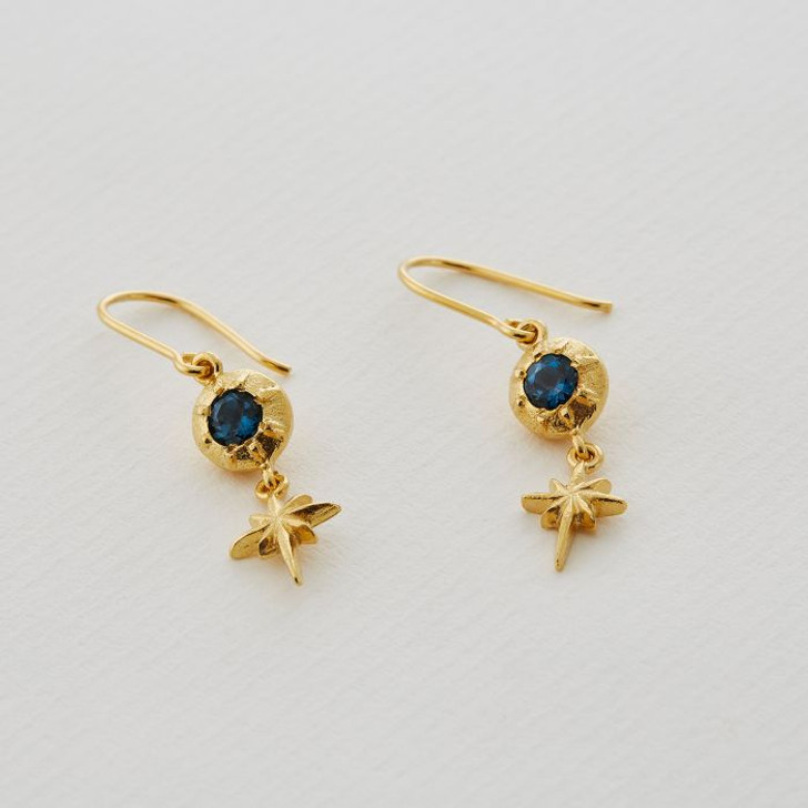 Alex Monroe Guiding Star Hook Earings With Blue Topaz Gold Plated