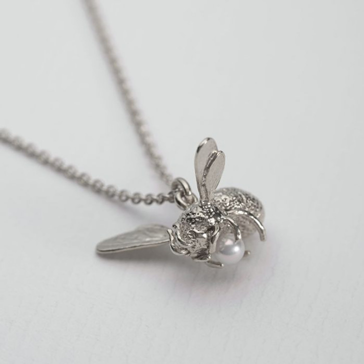 Alex Monroe Flying Bee With Pearl Necklace Silver
