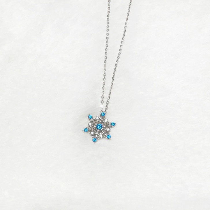 House Of Jewellery Sterling Silver Rhodium CZ Snowflake Necklace