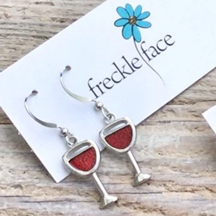 Freckle Face Red Wine Glass Earrings