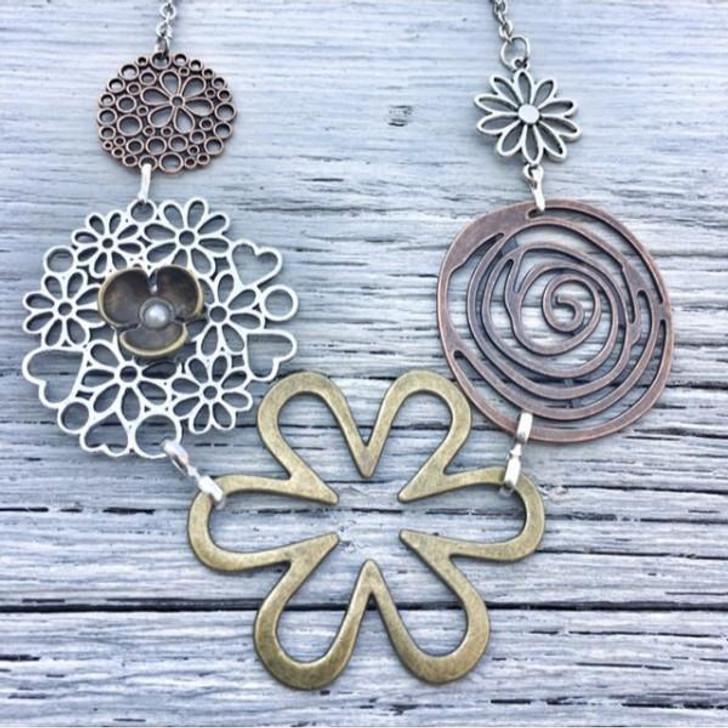 Freckle Face Bold Flower Bib Necklace Bronze Centre