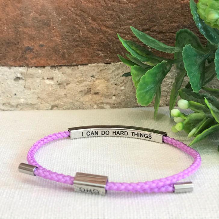 GHG Our Girls Bracelet I Can Do Hard Things Purple