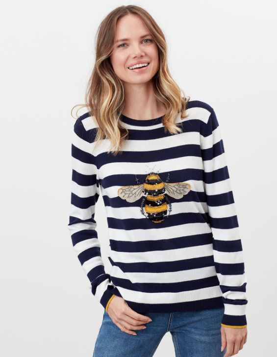 Joules Miranda Luxe Knitted Intarsia Crew Neck Jumper