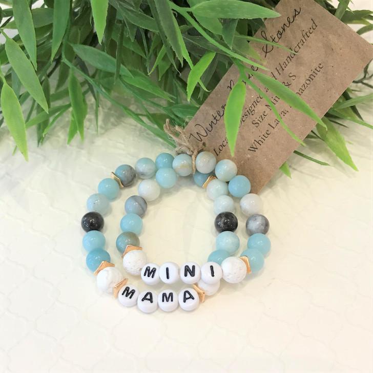 Mama & Mini Bracelet Set- White Lava and Amazonite
