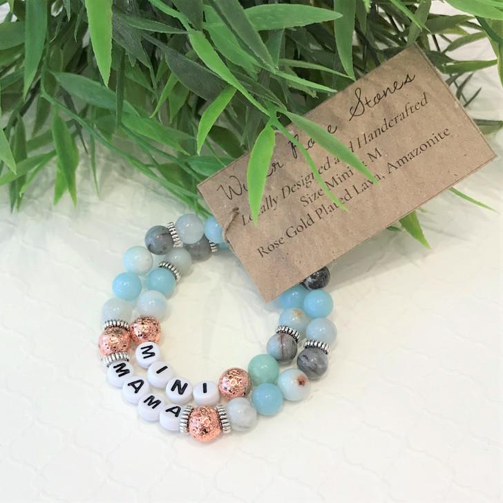 Mama & Mini Bracelet Set- Rose Gold Plated Lava and Amazonite