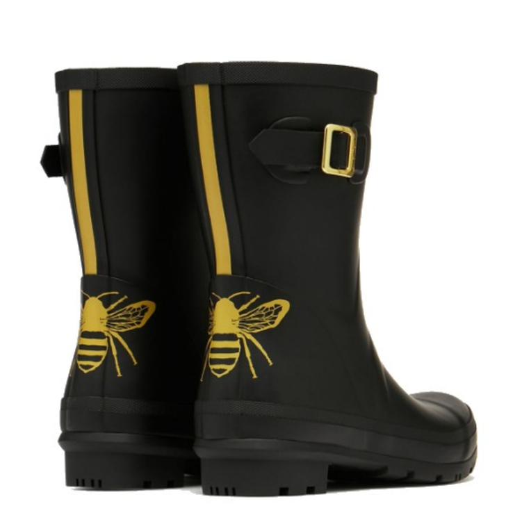 Joules Molly Mid Height Printed Wellies Golden Etched Bee