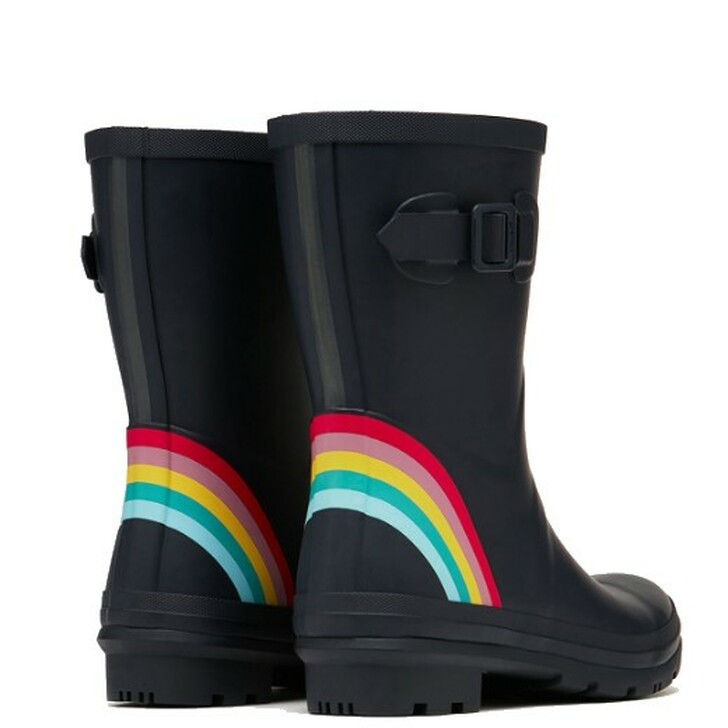 Joules Molly Mid Height Printed Wellies Navy Rainbow