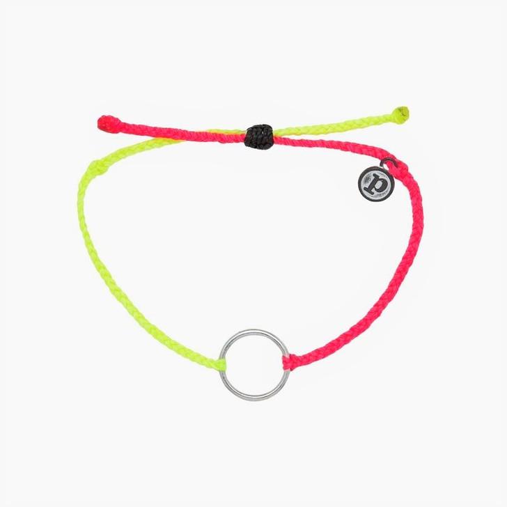 Pura Vida 2 Tone Full Circle Silver Bracelet Neon Yellow/Neon Pink