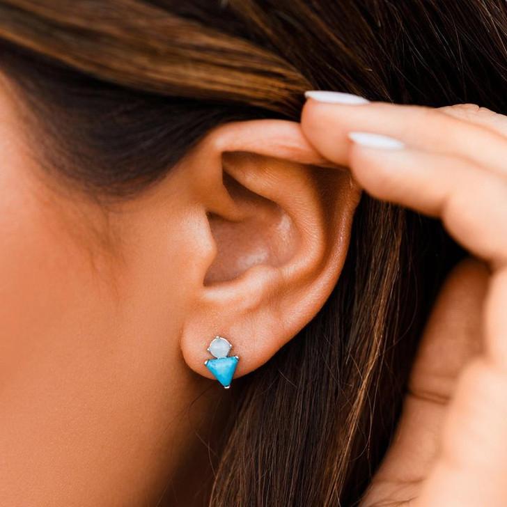 Pura Vida Turquoise & Moonstone Earrings Silver