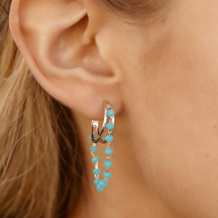 Pura Vida Neon Rosary Hoop Earrings Silver