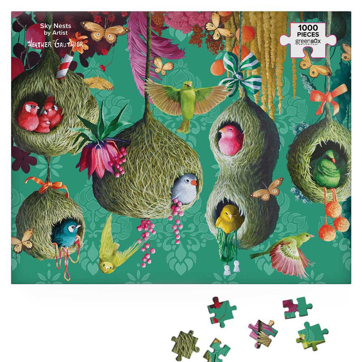Green Box Puzzle Sky Nests by Heather Gauthier