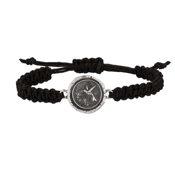 Pyrrha - Hummingbird Black Braided Bracelet