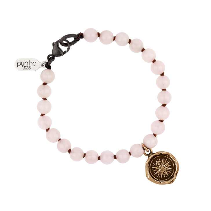 Pyrrha - Direction Rose Quartz Beaded Bracelet Bronze