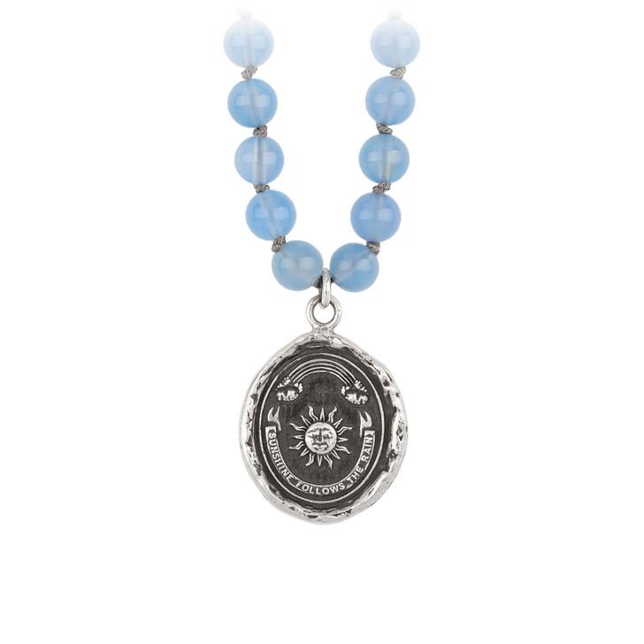 """Pyrrha - Rainbow Chalcedony Sautoir Necklace 24"""""""