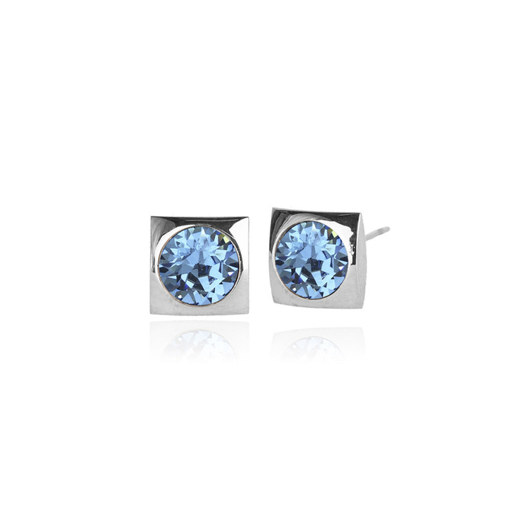 JJ+RR Classic Square Small Stud Silver Earring Aqua